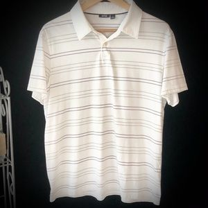 Apt. 9 White Collared Shirt With Gray Stripes